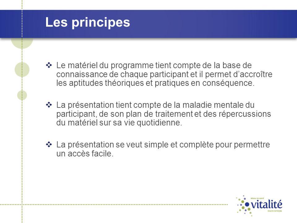 Les principes  Le matériel du programme tient compte de la base de connaissance de chaque participant et il permet d'accroître les aptitudes théoriqu