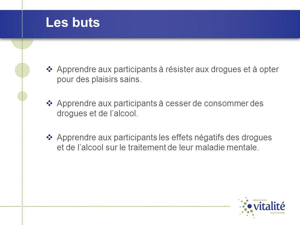 Les buts  Apprendre aux participants à résister aux drogues et à opter pour des plaisirs sains.  Apprendre aux participants à cesser de consommer de