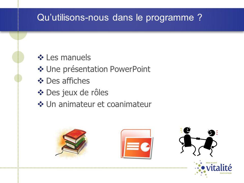 Qu'utilisons-nous dans le programme ?  Les manuels  Une présentation PowerPoint  Des affiches  Des jeux de rôles  Un animateur et coanimateur