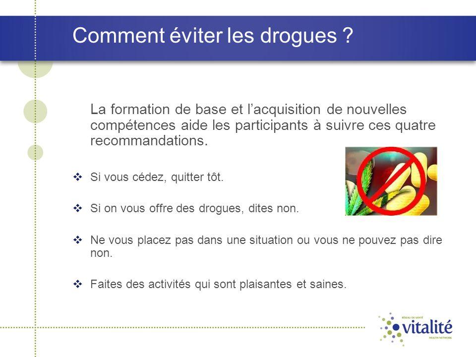 Comment éviter les drogues ? La formation de base et l'acquisition de nouvelles compétences aide les participants à suivre ces quatre recommandations.