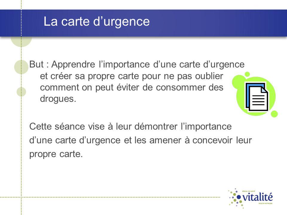 La carte d'urgence But : Apprendre l'importance d'une carte d'urgence et créer sa propre carte pour ne pas oublier comment on peut éviter de consommer