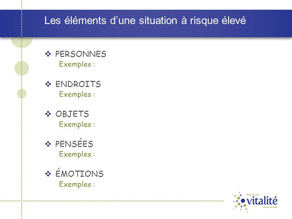 Les éléments d'une situation à risque élevé  PERSONNES Exemples :  ENDROITS Exemples :  OBJETS Exemples :  PENSÉES Exemples :  ÉMOTIONS Exemples