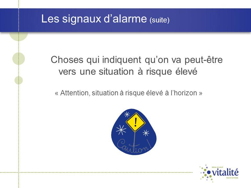 Les signaux d'alarme (suite) Choses qui indiquent qu'on va peut-être vers une situation à risque élevé « Attention, situation à risque élevé à l'horiz