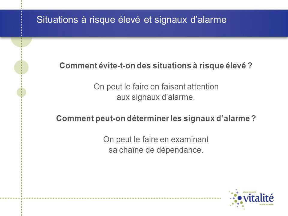 Situations à risque élevé et signaux d'alarme Comment évite-t-on des situations à risque élevé ? On peut le faire en faisant attention aux signaux d'a