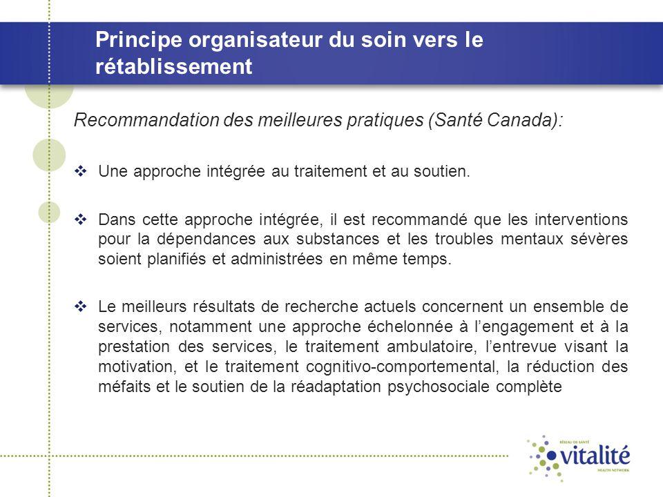 Principe organisateur du soin vers le rétablissement Recommandation des meilleures pratiques (Santé Canada):  Une approche intégrée au traitement et