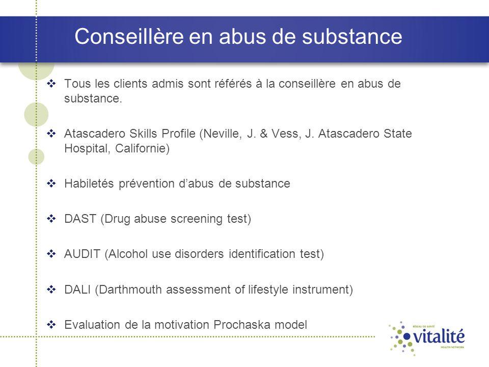 Conseillère en abus de substance  Tous les clients admis sont référés à la conseillère en abus de substance.  Atascadero Skills Profile (Neville, J.