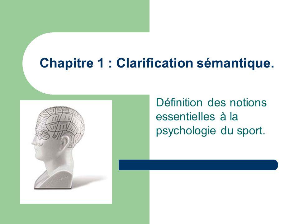 Chapitre 1 : Clarification sémantique. Définition des notions essentielles à la psychologie du sport.