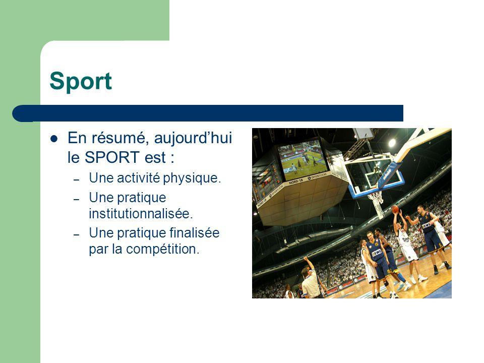  En résumé, aujourd'hui le SPORT est : – Une activité physique. – Une pratique institutionnalisée. – Une pratique finalisée par la compétition.
