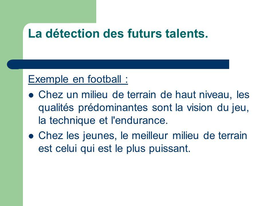 Exemple en football :  Chez un milieu de terrain de haut niveau, les qualités prédominantes sont la vision du jeu, la technique et l'endurance.  Che