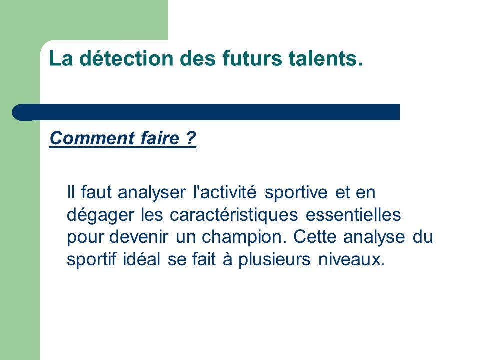 La détection des futurs talents. Comment faire ? Il faut analyser l'activité sportive et en dégager les caractéristiques essentielles pour devenir un