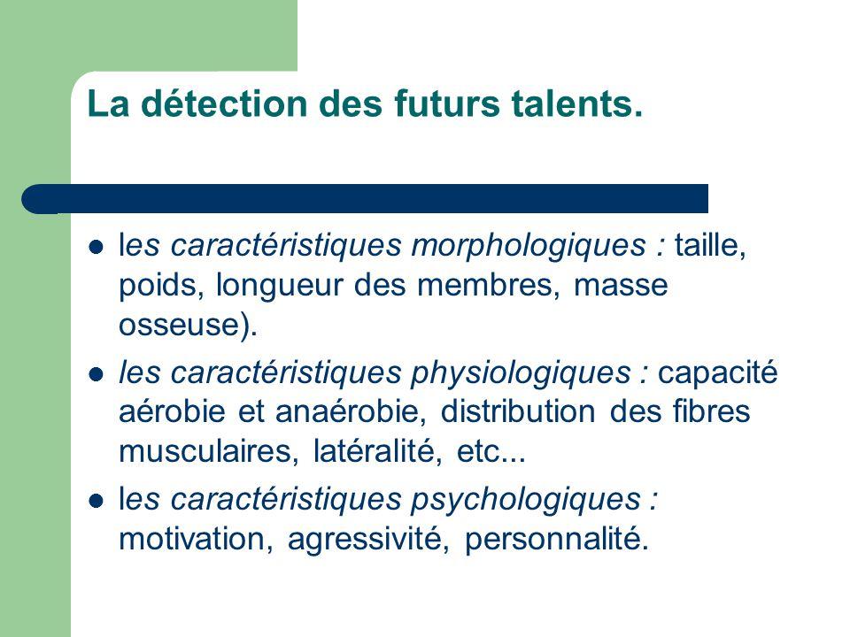 La détection des futurs talents.  les caractéristiques morphologiques : taille, poids, longueur des membres, masse osseuse).  les caractéristiques p