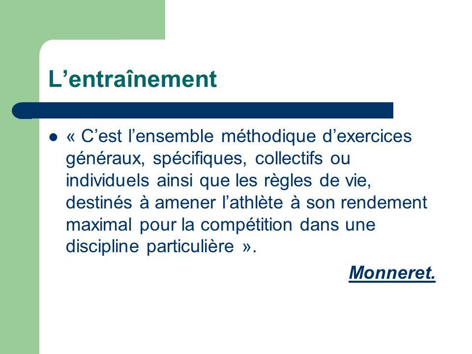  « C'est l'ensemble méthodique d'exercices généraux, spécifiques, collectifs ou individuels ainsi que les règles de vie, destinés à amener l'athlète