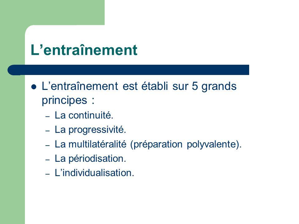  L'entraînement est établi sur 5 grands principes : – La continuité. – La progressivité. – La multilatéralité (préparation polyvalente). – La périodi