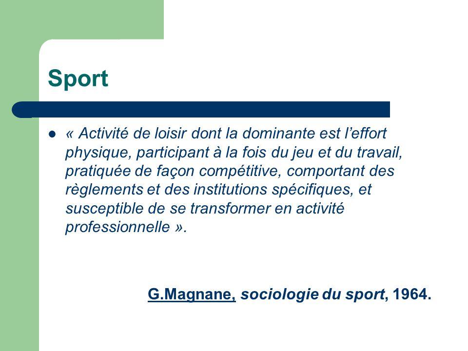  « Activité de loisir dont la dominante est l'effort physique, participant à la fois du jeu et du travail, pratiquée de façon compétitive, comportant