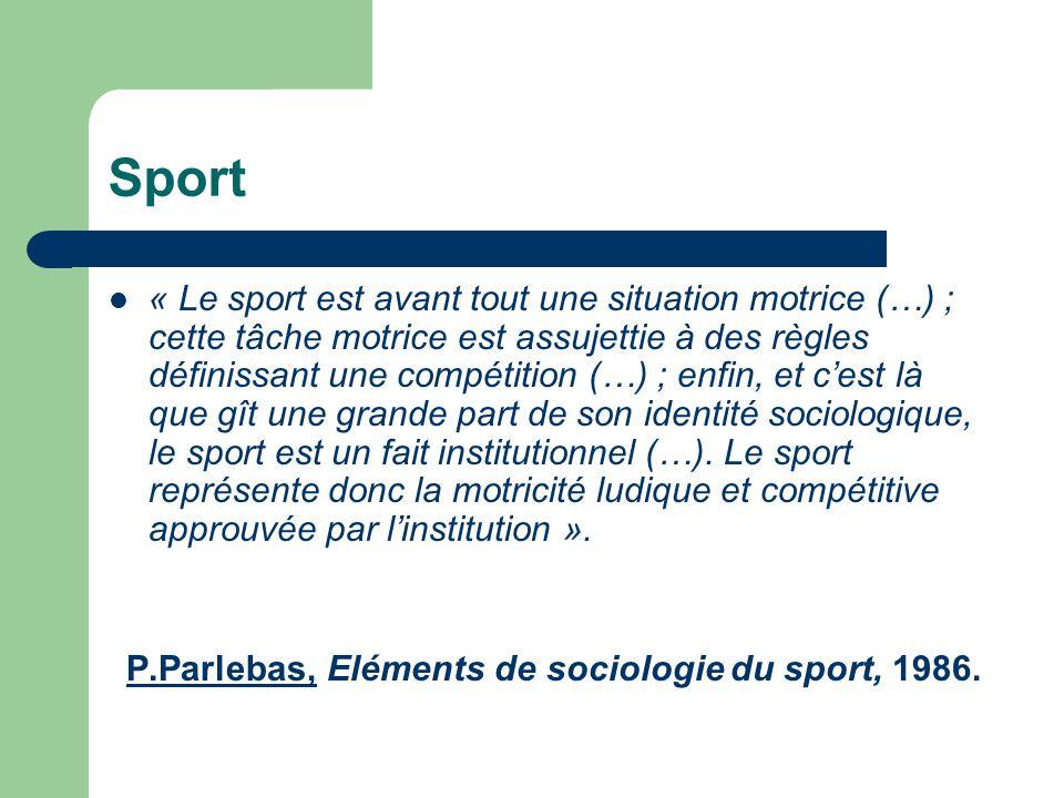  « Le sport est avant tout une situation motrice (…) ; cette tâche motrice est assujettie à des règles définissant une compétition (…) ; enfin, et c'