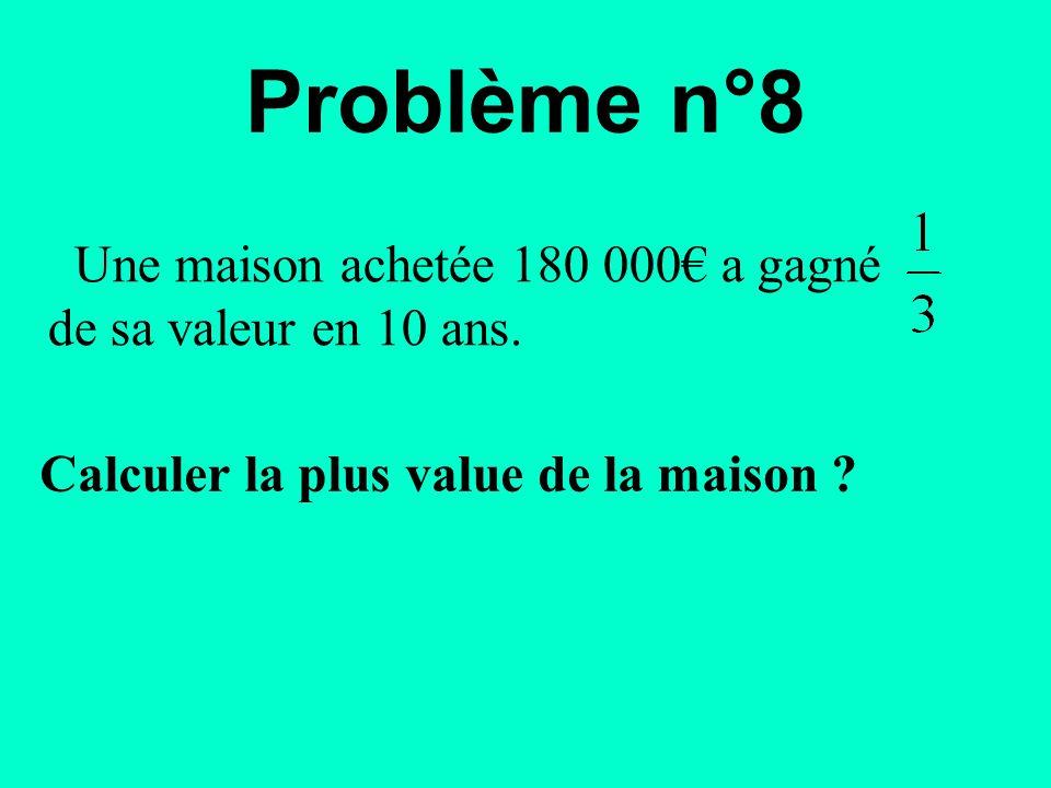 Une maison achetée 180 000€ a gagné de sa valeur en 10 ans. Problème n°8 Calculer la plus value de la maison ?