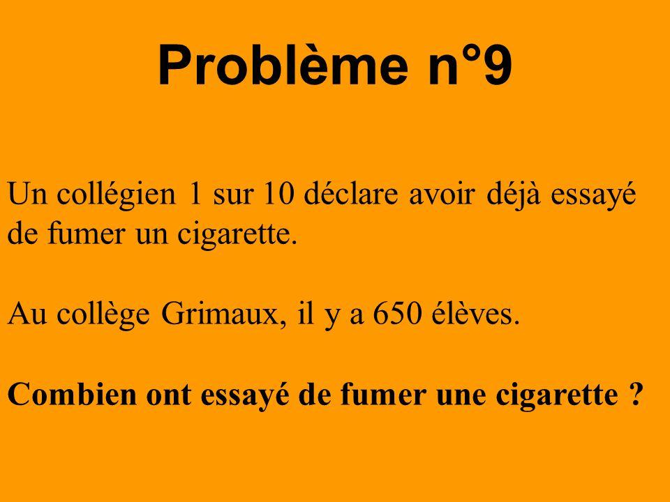 Un collégien 1 sur 10 déclare avoir déjà essayé de fumer un cigarette. Au collège Grimaux, il y a 650 élèves. Combien ont essayé de fumer une cigarett