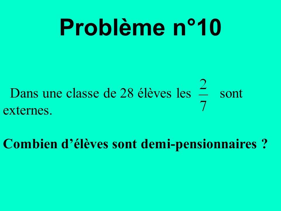 Dans une classe de 28 élèves les sont externes. Combien d'élèves sont demi-pensionnaires ? Problème n°10
