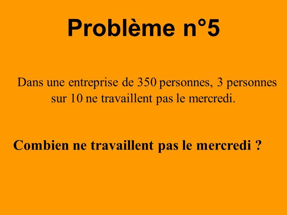 Dans une entreprise de 350 personnes, 3 personnes sur 10 ne travaillent pas le mercredi. Problème n°5 Combien ne travaillent pas le mercredi ?