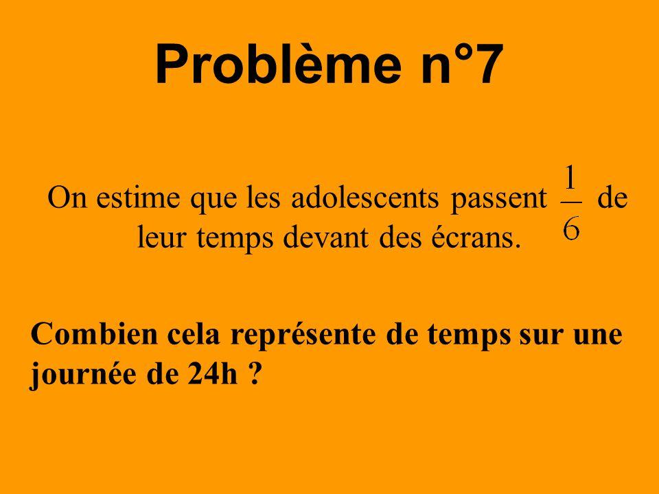 On estime que les adolescents passent de leur temps devant des écrans. Problème n°7 Combien cela représente de temps sur une journée de 24h ?