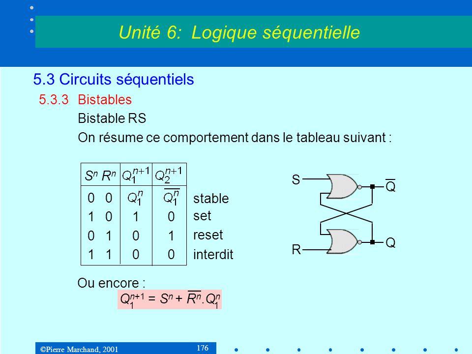 ©Pierre Marchand, 2001 176 5.3 Circuits séquentiels 5.3.3Bistables Bistable RS On résume ce comportement dans le tableau suivant : Unité 6: Logique sé