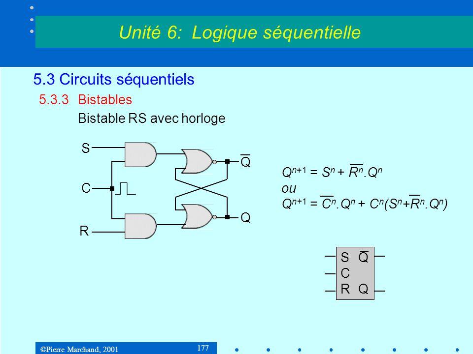 ©Pierre Marchand, 2001 177 5.3 Circuits séquentiels 5.3.3Bistables Bistable RS avec horloge Unité 6: Logique séquentielle S R Q Q C Q n+1 = S n + R n.