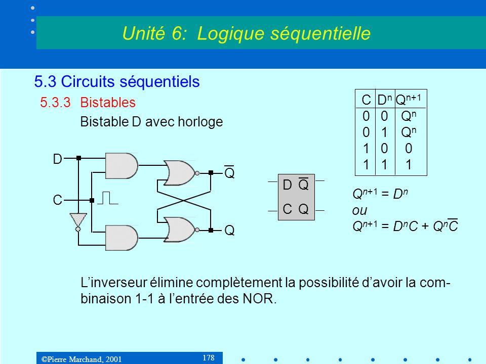 ©Pierre Marchand, 2001 178 5.3 Circuits séquentiels 5.3.3Bistables Bistable D avec horloge Unité 6: Logique séquentielle D Q Q C L'inverseur élimine c