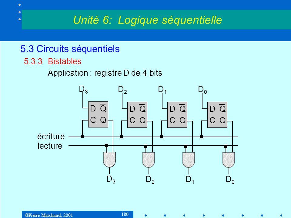 ©Pierre Marchand, 2001 180 5.3 Circuits séquentiels 5.3.3Bistables Application : registre D de 4 bits Unité 6: Logique séquentielle DQCQDQCQ D3D3 D3D3