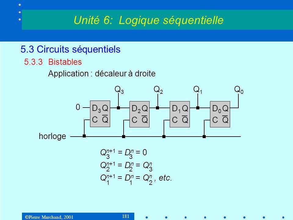 ©Pierre Marchand, 2001 181 5.3 Circuits séquentiels 5.3.3Bistables Application : décaleur à droite Unité 6: Logique séquentielle D3QCQD3QCQ D2QCQD2QCQ