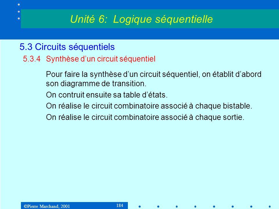 ©Pierre Marchand, 2001 184 5.3 Circuits séquentiels 5.3.4Synthèse d'un circuit séquentiel Pour faire la synthèse d'un circuit séquentiel, on établit d
