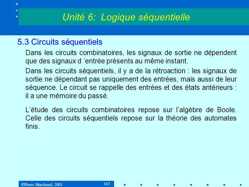 ©Pierre Marchand, 2001 198 5.3 Circuits séquentiels 5.3.4Synthèse d'un circuit séquentiel Exemple 3 : Système de contrôle de feux de circulation Tables de Karnaugh pour les entrées des bistables : Unité 6: Logique séquentielle 00011110 00000 11100 00011110 01001 10101 D1D1 D2D2 Q1Q2Q1Q2 Q1Q2Q1Q2 xx