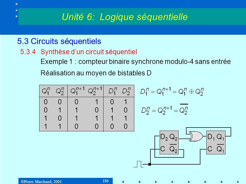 ©Pierre Marchand, 2001 186 5.3 Circuits séquentiels 5.3.4Synthèse d'un circuit séquentiel Exemple 1 : compteur binaire synchrone modulo-4 sans entrée