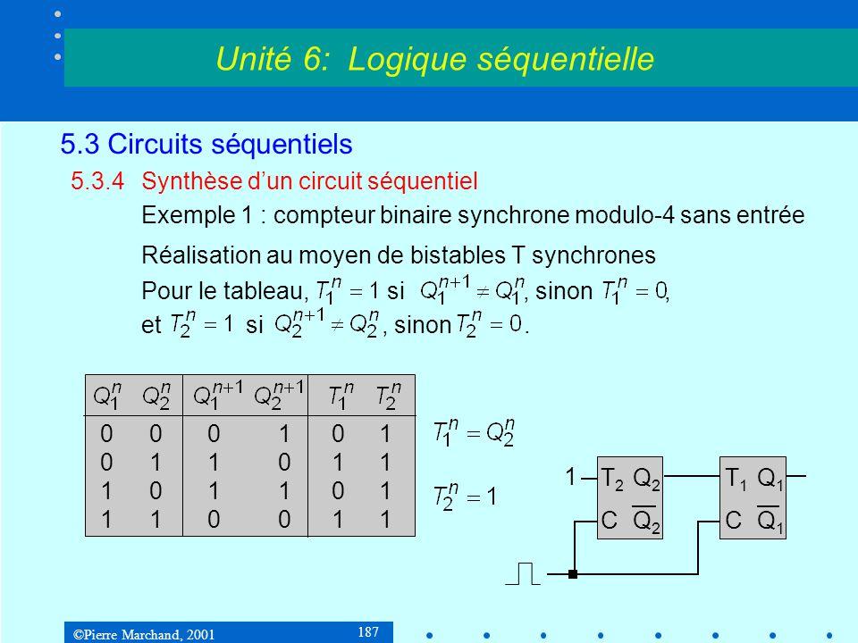 ©Pierre Marchand, 2001 187 5.3 Circuits séquentiels 5.3.4Synthèse d'un circuit séquentiel Exemple 1 : compteur binaire synchrone modulo-4 sans entrée
