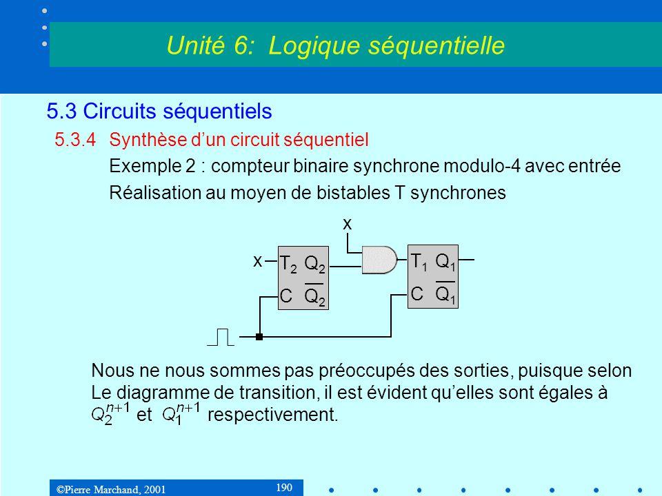 ©Pierre Marchand, 2001 190 5.3 Circuits séquentiels 5.3.4Synthèse d'un circuit séquentiel Exemple 2 : compteur binaire synchrone modulo-4 avec entrée