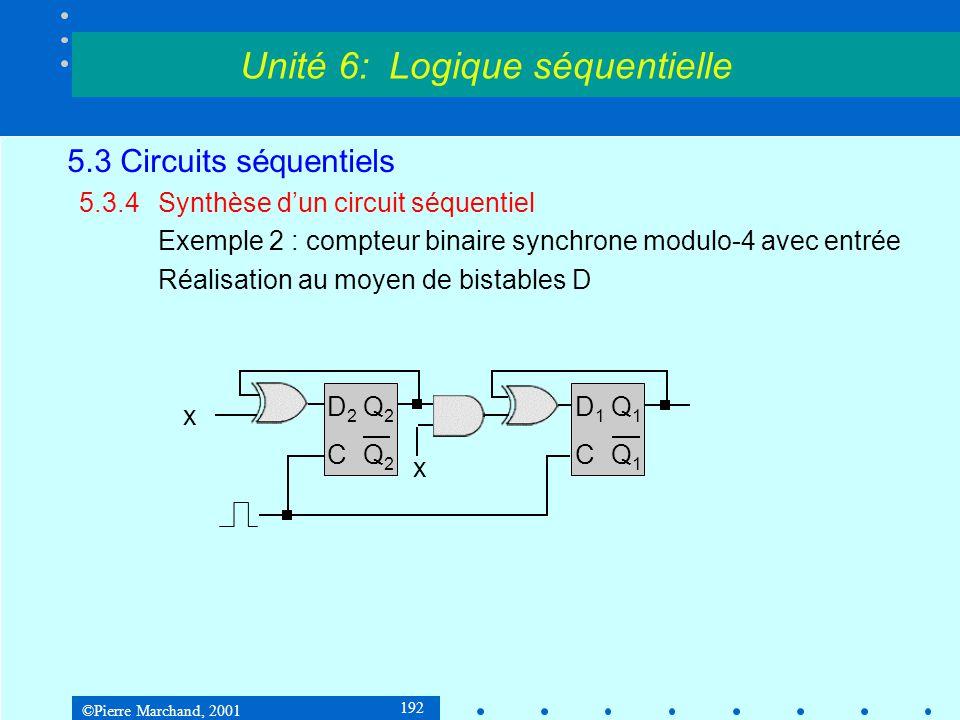 ©Pierre Marchand, 2001 192 5.3 Circuits séquentiels 5.3.4Synthèse d'un circuit séquentiel Exemple 2 : compteur binaire synchrone modulo-4 avec entrée