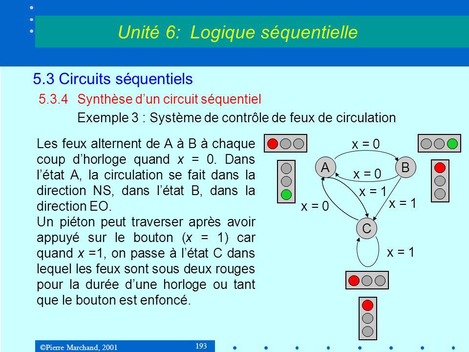 ©Pierre Marchand, 2001 193 5.3 Circuits séquentiels 5.3.4Synthèse d'un circuit séquentiel Exemple 3 : Système de contrôle de feux de circulation Unité