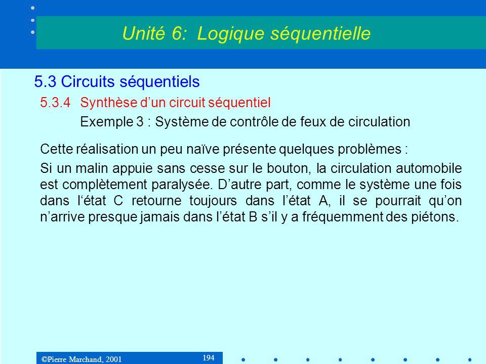 ©Pierre Marchand, 2001 194 5.3 Circuits séquentiels 5.3.4Synthèse d'un circuit séquentiel Exemple 3 : Système de contrôle de feux de circulation Cette