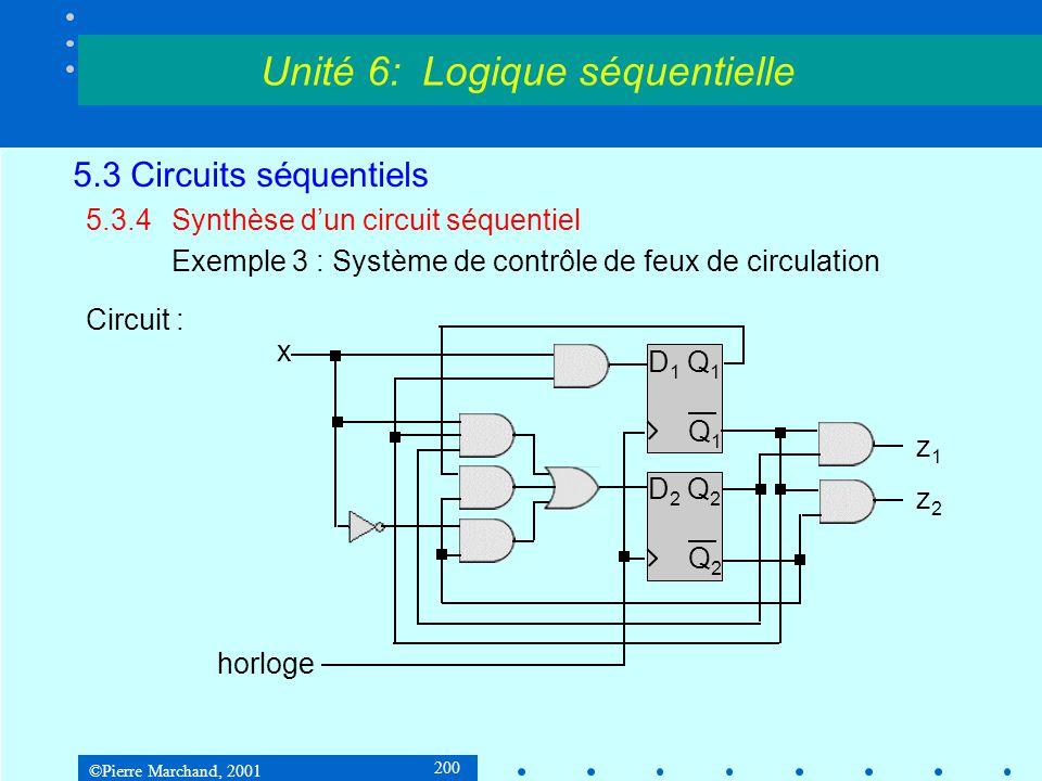 ©Pierre Marchand, 2001 200 5.3 Circuits séquentiels 5.3.4Synthèse d'un circuit séquentiel Exemple 3 : Système de contrôle de feux de circulation Circu