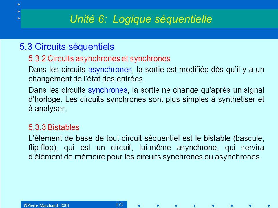 ©Pierre Marchand, 2001 173 5.3 Circuits séquentiels 5.3.3Bistables Bistable RS Unité 6: Logique séquentielle S R Q1Q1 Q2Q2 On observe que si S = 0 et R = 0, le circuit est dans l'un de deux états stables : Q 1 = 0 et Q 2 = 1 ou Q 1 = 1 et Q 2 = 0.