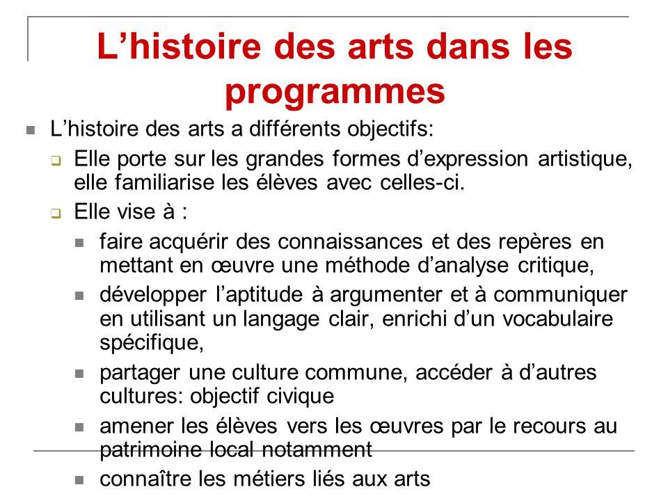 L'histoire des arts dans les programmes  L'histoire des arts a différents objectifs:  Elle porte sur les grandes formes d'expression artistique, elle familiarise les élèves avec celles-ci.