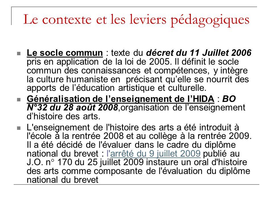 Le contexte et les leviers pédagogiques  Le socle commun : texte du décret du 11 Juillet 2006 pris en application de la loi de 2005.