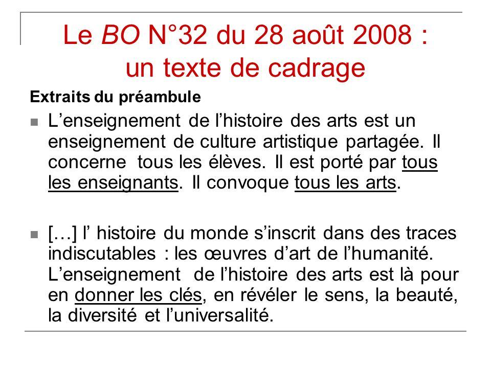 Le BO N°32 du 28 août 2008 : un texte de cadrage Extraits du préambule  L'enseignement de l'histoire des arts est un enseignement de culture artistique partagée.