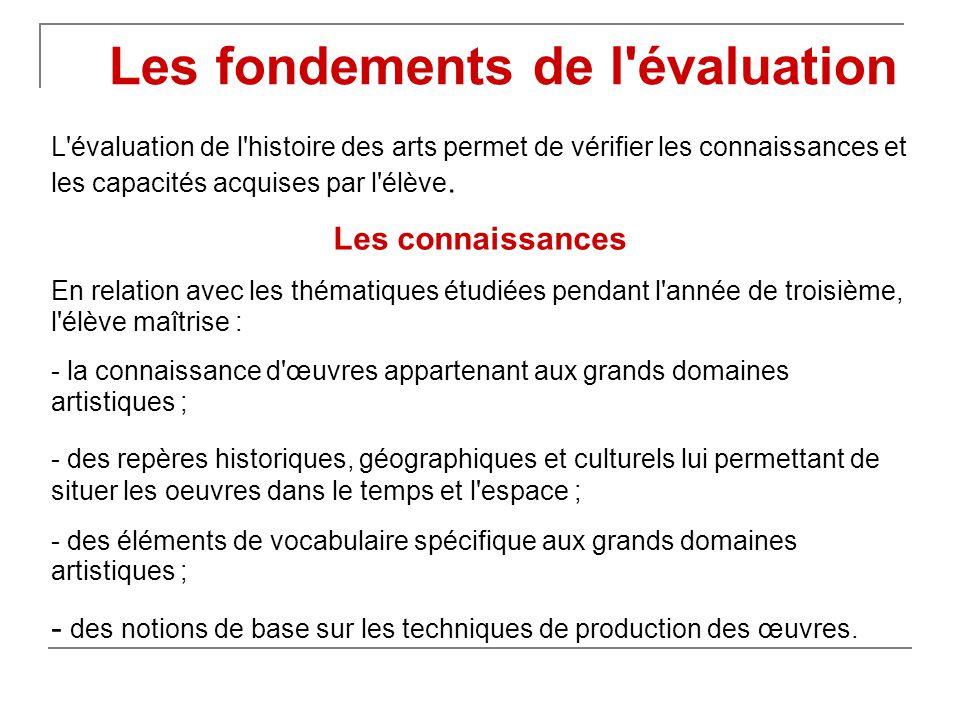 L évaluation de l histoire des arts permet de vérifier les connaissances et les capacités acquises par l élève.