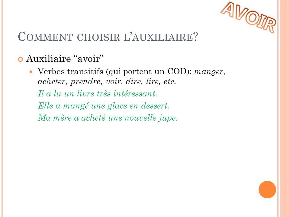 """C OMMENT CHOISIR L ' AUXILIAIRE ? Auxiliaire """"avoir""""  Verbes transitifs (qui portent un COD): manger, acheter, prendre, voir, dire, lire, etc. Il a l"""