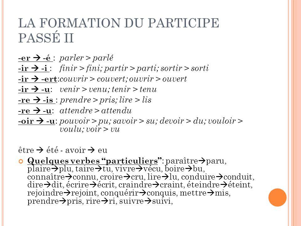 LA FORMATION DU PARTICIPE PASSÉ II -er  -é : parler > parlé -ir  -i : finir > fini; partir > parti; sortir > sorti -ir  -ert : couvrir > couvert; o