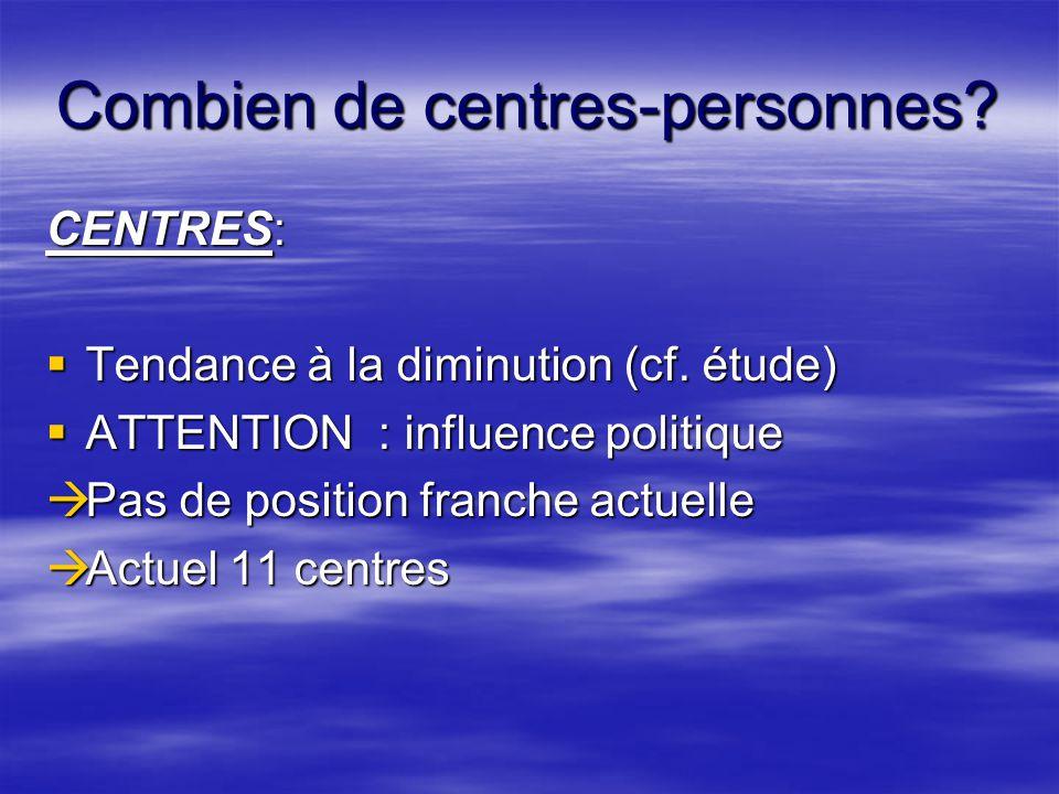 Combien de centres-personnes. CENTRES:  Tendance à la diminution (cf.