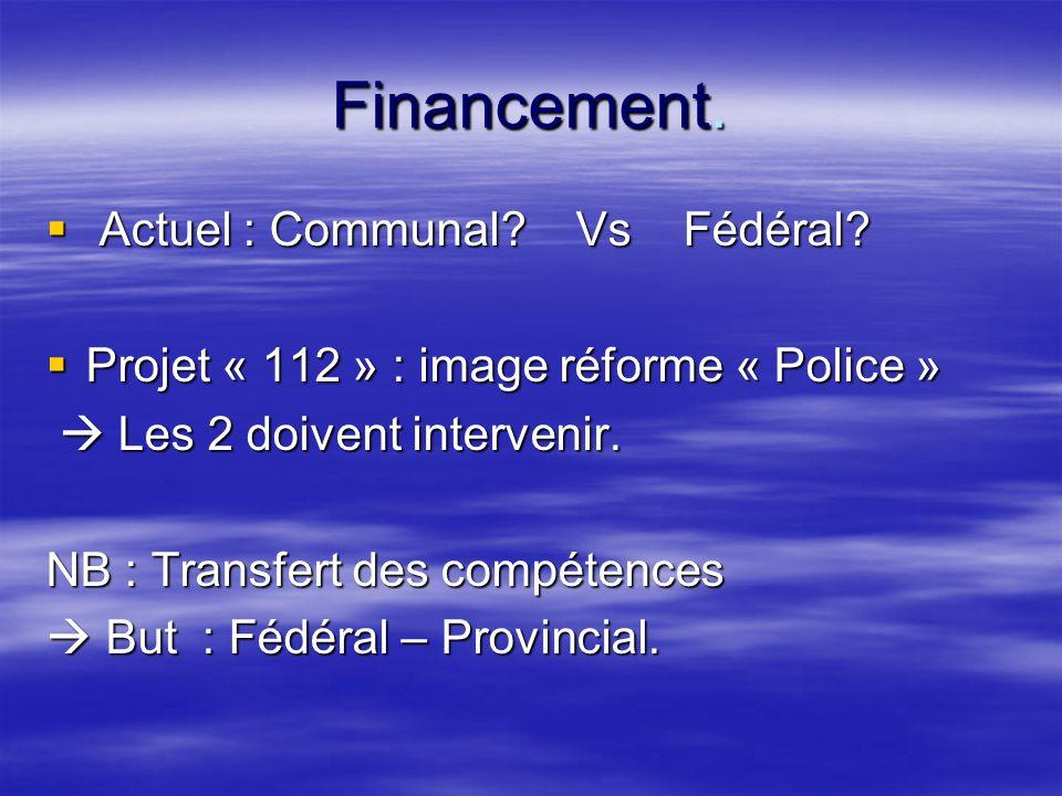 Financement.  Actuel : Communal. Vs Fédéral.