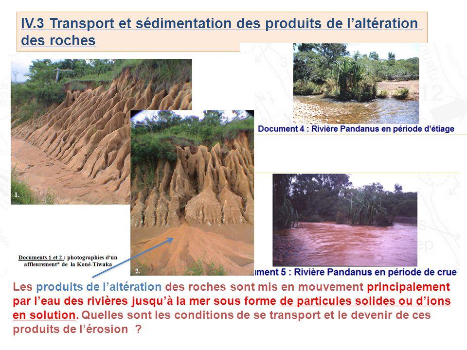 IV.3 Transport et sédimentation des produits de l'altération des roches Les produits de l'altération des roches sont mis en mouvement principalement p