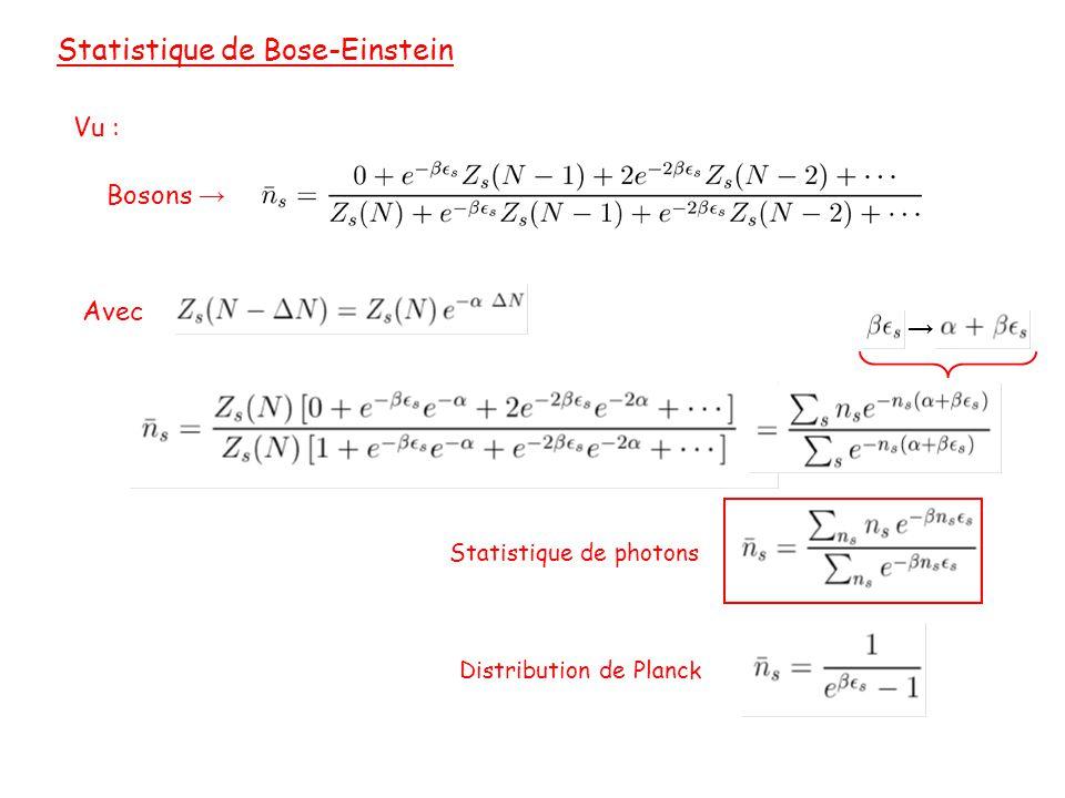 Statistique de Bose-Einstein Bosons → Vu : Avec Statistique de photons → Distribution de Planck