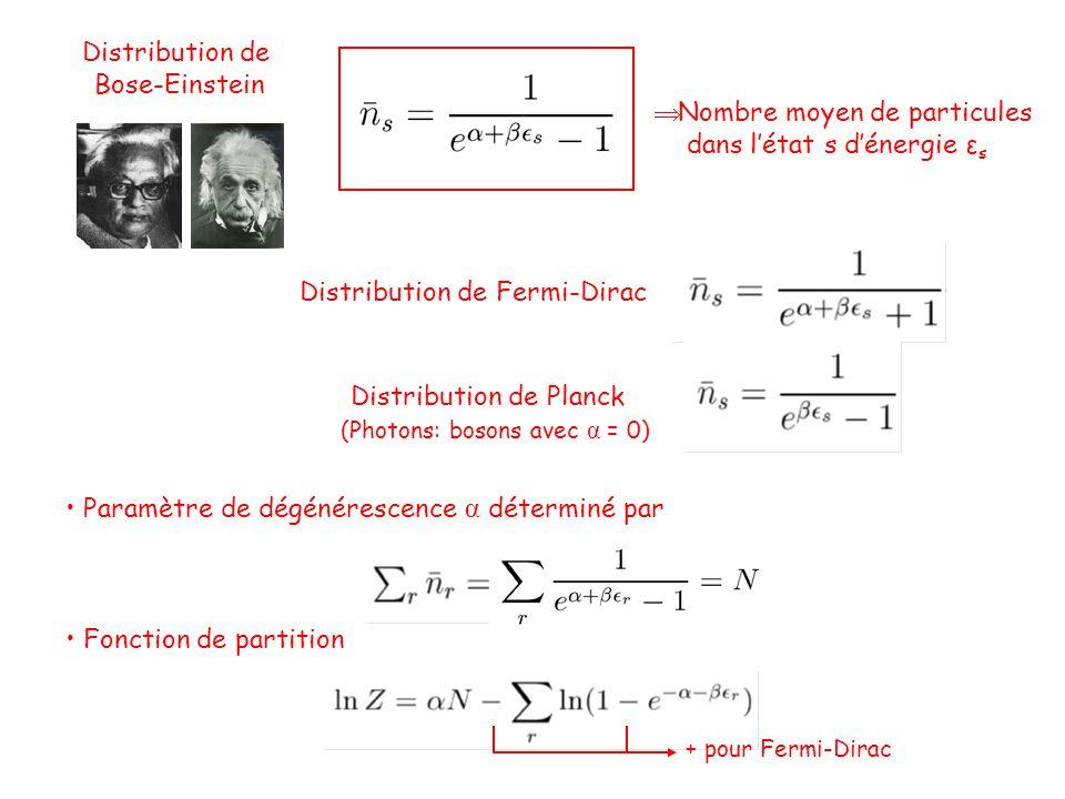Distribution de Bose-Einstein  Nombre moyen de particules dans l'état s d'énergie ε s Distribution de Fermi-Dirac Distribution de Planck (Photons: bosons avec α = 0) • Paramètre de dégénérescence α déterminé par • Fonction de partition + pour Fermi-Dirac